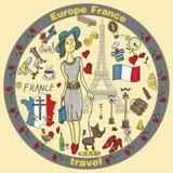 Kolor ilustracja travel_7_to Europa Francja, symbole i attrac, ilustracja wektor