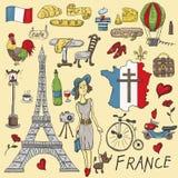 Kolor ilustracji podróż Europa Francja, symbole i attracti, royalty ilustracja