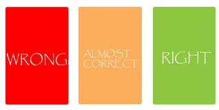 Kolor karty - MYLNE, PRAWIE POPRAWNY, PRAWY obraz stock