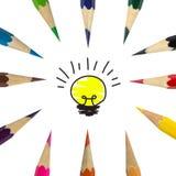 Kolor lampy i ołówka pomysł Zdjęcia Royalty Free