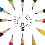 Kolor lampy i ołówka pomysł Obrazy Royalty Free