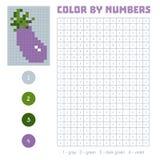 Kolor liczbą, owoc i warzywo, oberżyna ilustracji