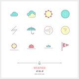 Kolor linii Abstrakcjonistyczne ikony ustawiać lokalny aktualny pogodowy warunek Zdjęcie Stock