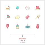 Kolor linii ikona ustawia cukierek desery protestuje Logo ikon vec Fotografia Stock