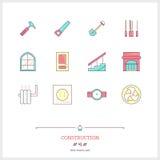 Kolor linii ikona ustawiająca budowa przedmioty Budów narzędzia, Zdjęcie Stock