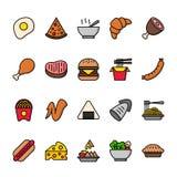 Kolor linii ikona ustawiająca jedzenie Piksel perfect ikony ilustracja wektor