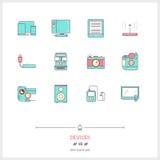 Kolor linii ikona ustawiająca technologia przyrządów ikony ustawiać technologia Obrazy Stock