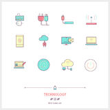 Kolor linii ikona ustawiająca technologii wyposażenie, proces, protestuje Fotografia Stock