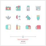 Kolor linii ikona ustawiająca wyposażenie, przedmioty i narzędzia fotografii, Fotografia Stock