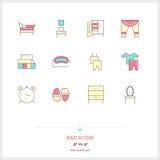 Kolor linii ikona ustawiająca złe izbowe ikony ustawiać Wnętrze i tkanina Obraz Stock