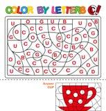 Kolor listami Uczyć się kapitałowych listy abecadło Łamigłówka dla dzieci Pisze list C Filiżanka Preschool edukacja Zdjęcia Stock
