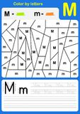 Kolor listowym abecadła worksheet - kolor i Writing Zdjęcia Stock