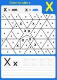 Kolor listowym abecadła worksheet - kolor i Writing Obraz Stock