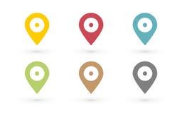 Kolor mapy szpilka z kropką royalty ilustracja