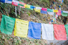 Kolor modlitwa zaznacza na górze w Nepal obraz royalty free