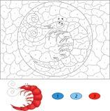 Kolor numerową edukacyjną grze dla dzieciaków Śmieszna kreskówki garnela Obraz Royalty Free