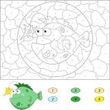 Kolor numerową edukacyjną grze dla dzieciaków Śmieszna kreskówki ryba Fotografia Stock