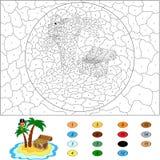 Kolor numerową edukacyjną grze dla dzieciaków Śmieszny kreskówka pirat Zdjęcia Stock