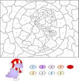 Kolor numerową edukacyjną grze dla dzieciaków śmieszny kreskówka smok Zdjęcie Royalty Free