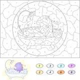 Kolor numerową edukacyjną grze dla dzieciaków śmieszny kreskówka smok Zdjęcie Stock