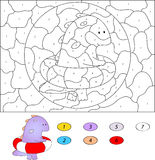 Kolor numerową edukacyjną grze dla dzieciaków śmieszny kreskówka smok Zdjęcia Stock