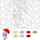 Kolor numerową edukacyjną grze dla dzieciaków śmieszny kreskówka smok Zdjęcia Royalty Free