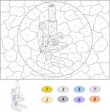 Kolor numerową edukacyjną grze dla dzieciaków śmieszny kreskówka smok Fotografia Stock