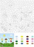 Kolor numerową edukacyjną grze dla dzieciaków Dwa chłopiec p i dziewczyna Obraz Royalty Free