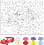 Kolor numerową edukacyjną grze dla dzieciaków samochodowego kreskówki wzoru bezszwowy wektor royalty ilustracja