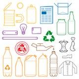 Kolor oddzielający odpady zarysowywa ikony Zdjęcie Stock