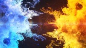 Kolor Pęka - dwa błękitów wybuchów fluidu proszka ciekłego gazu cząsteczek żółtego kolorowego dymnego zwolnionego tempa alfa matt royalty ilustracja