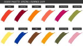 Kolor palety wiosny lato 2019 Próbki modni kolory w przeszłym roku zdjęcia royalty free