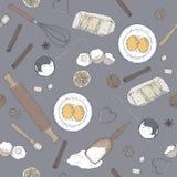 Kolor piekarni wzór z toczną szpilką, naganiacz, foremka, durszlak, mąka, jajka, masło, cytryna, pikantność Ręka rysujący nakreśl ilustracji