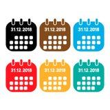 kolor porządkuje ikonę Nowy Year&-x27; s dzień na kalendarzu 2018 Grudzień 31, ilustracji