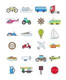 Kolor przewiezione ikony ustawiać royalty ilustracja