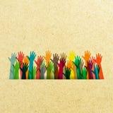 Kolor różne ręki podnosić ilustracji
