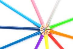 kolor tła ołówki białe Fotografia Stock