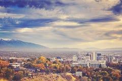 Kolor tonował obrazek Salt Lake City śródmieście, usa obraz stock