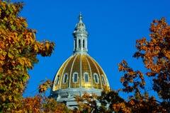 Kolorado stanu Capitol budynku kopuła z Kolorowymi spadków liśćmi obrazy royalty free