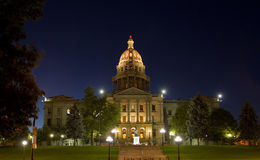 Kolorado stanu Capitol przy nocą Obraz Royalty Free