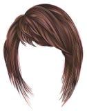 Koloring highlignting kare Haare der modischen Frau mit Franse Zwei dekorative Fahnen lizenzfreie abbildung