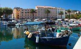 Kolorowa łódź rybacka w Ajaccio porcie, Corsica wyspa Zdjęcie Royalty Free