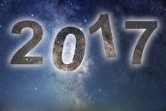 2017 Kolorowa łuna 2017 nowy rok pozyskiwania ilustracyjny błyskawica nocne niebo Obraz Royalty Free