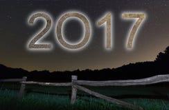 2017 Kolorowa łuna 2017 nowy rok pozyskiwania ilustracyjny błyskawica nocne niebo Fotografia Royalty Free