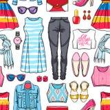 Kolorowa żeńska lato odzież royalty ilustracja
