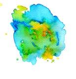 Kolorowa abstrakcjonistyczna akwareli tekstury plama z plu?ni?ciami i odpry?ni?ciami zdjęcie stock
