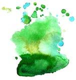 Kolorowa abstrakcjonistyczna akwareli tekstury plama z plu?ni?ciami i odpry?ni?ciami obrazy stock