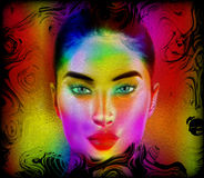 Kolorowa abstrakcjonistyczna kobiety twarz Obraz Stock