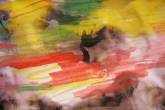 Kolorowa akwarela i burnt papier Zdjęcie Royalty Free