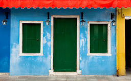 Kolorowa Burano fasada w Wenecja, Włochy Obrazy Royalty Free